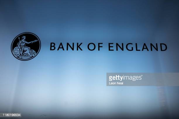 The Bank of England logo is seen on a lectern at the launch event for the new twenty pound note at the Turner Contemporary gallery on October 10,...