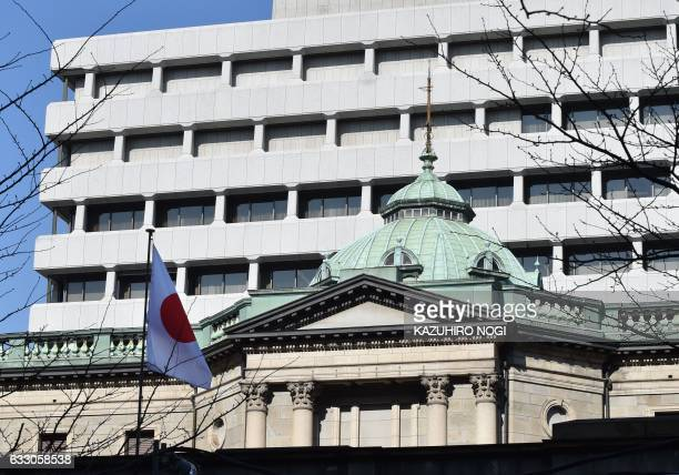 The Bank of Japan headquarters is seen in Tokyo on January 30 2017 Tokyo stocks fell early on January 30 as investors cashed in on recent gains with...
