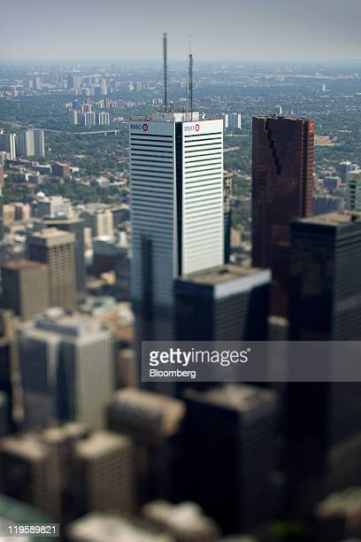 The Bank of Montreal headquarters building is pictured in this photograph taken with a tiltshift lens in Toronto Ontario Canada on Tuesday July 19...
