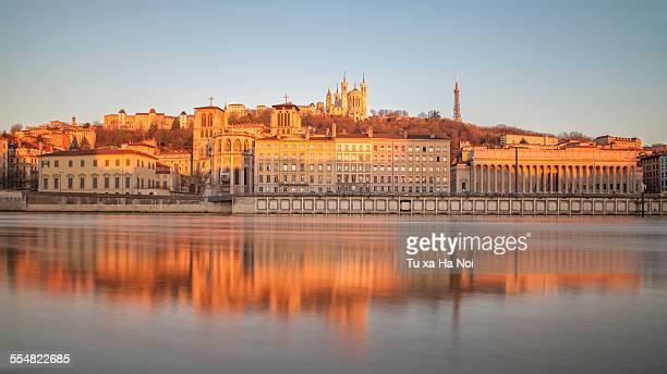 the bank of the saone river in lyon - lione foto e immagini stock