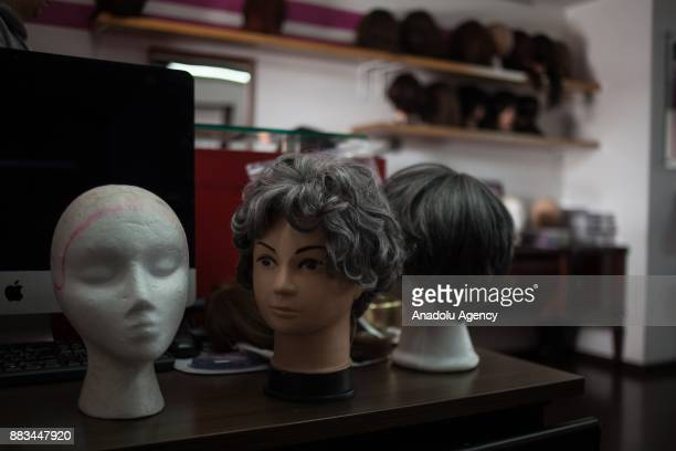 The bank of wigs at the AMESE Foundation who help victims with cancer to find an opportunity at the essential in dealing with cancer hairdressers and...