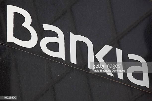 The Bankia logo is displayed the Kio Towers headquarters of Bankia in Plaza de Castilla on June 9 2012 in Madrid Spain Despite the severe budget cuts...
