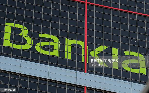 The Bankia SA logo is seen on the headquarters of Bankia SA on May 29 2012 in Madrid Spain Spanish borrowing costs have increased after the...
