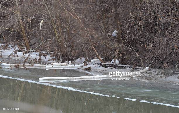 The banks of the Elk River where Kanawha County emergency services eventually determined the chemical had seeped through a secondary containment...