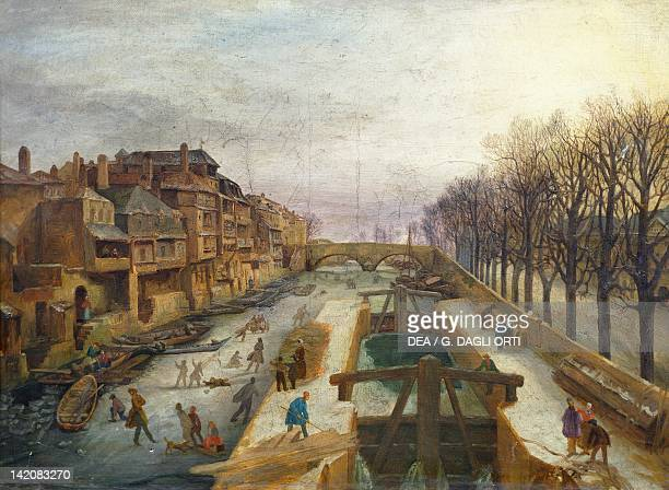 The banks of the Mosella River and Roches Quay in Metz by Salzard, France 19th Century.