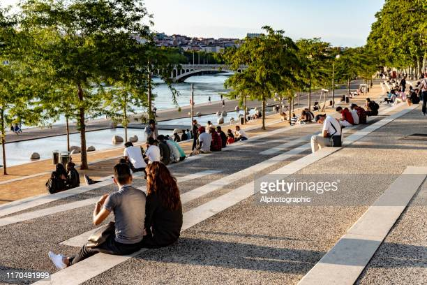 the banks of the rhone at lyon - riverbank stock pictures, royalty-free photos & images