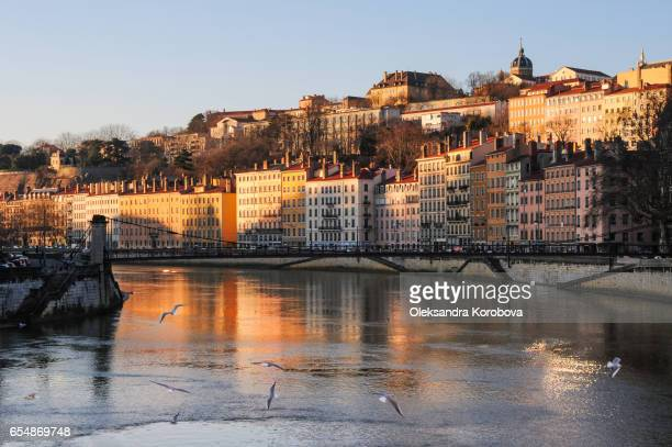 the banks of the rhone river at sunset - istock photo stock pictures, royalty-free photos & images