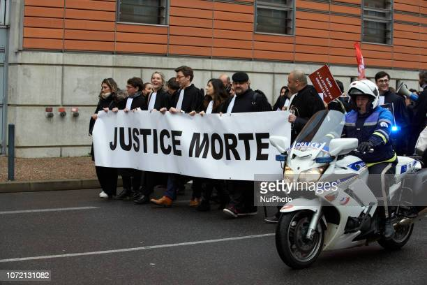 The banner reads 'Dead Justice' Lawyers counsels and magistrates gathered in front of the Toulouse' courthouse for a day called 'Dead Justice Day' in...