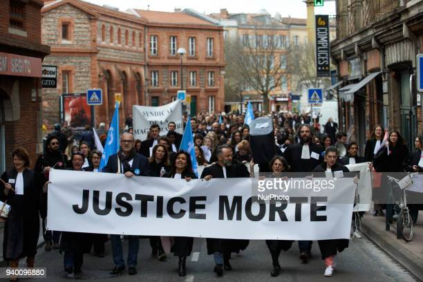 The banner reads 'Dead Justice' The French Bar Association all lawyers' unions all magistrates' unions called all its members to be on strike to...