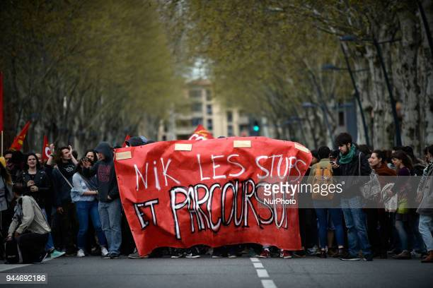 The banner reads 'Fuck Parcour'sup' Students highschool students teachers demonstrated against the selection in universities planned by the Macron's...