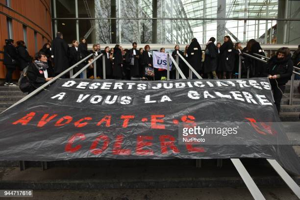 The banner reads 'Judiciary deserts for you the pain Angry lawyers' The French Bar Association all lawyers' unions all magistrates' unions called all...