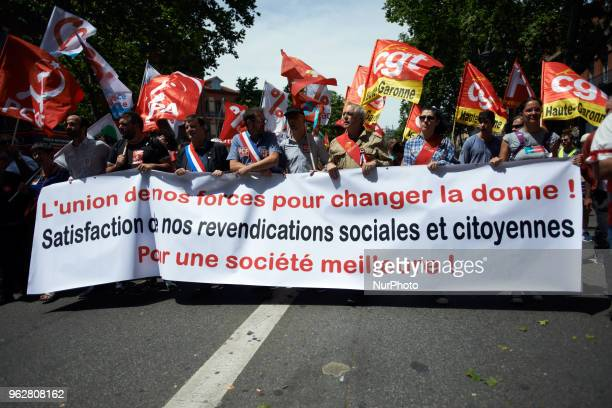 The banner reads 'Union of opur forces to change the deal for a better society' A quotmaree populairequot demonstration was called by more than 60...