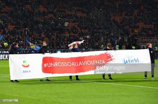 The banner to support the campaign Un Rosso Alla Violenza #unrossoallaviolenza before the Serie A match between FC Internazionale and Frosinone...