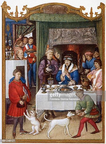 The banquet in January illumination from the Grimani Breviary Facsimile Heliotype 1910 approx