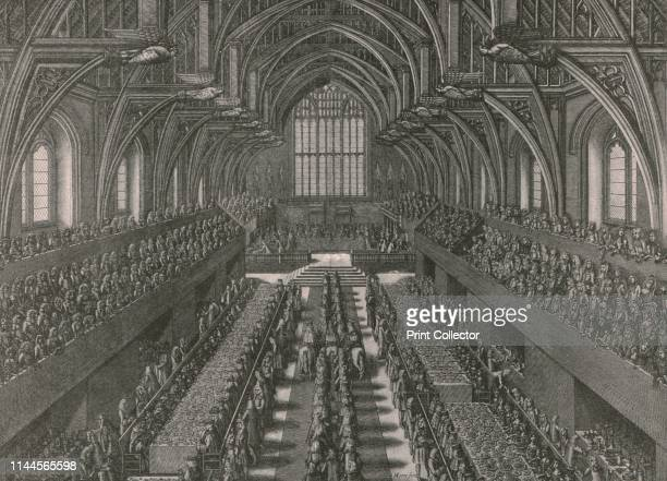 The banquet in the Great Hall at the Palace of Westminster, for the coronation of James II in London in 1685, . Guests at the coronation banquet of...