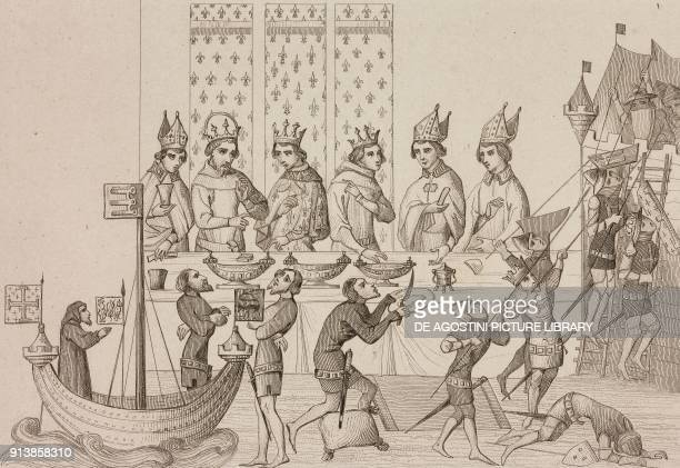 The banquet in the main hall of the palace France 14th century engraving by Lemaitre from France deuxieme partie L'Univers pittoresque published by...
