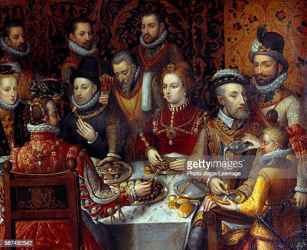 The banquet of the Monarchs Detail depicting Charles V seated on right with his wife Isabella of Portugal in the center their son Philip II of Spain...