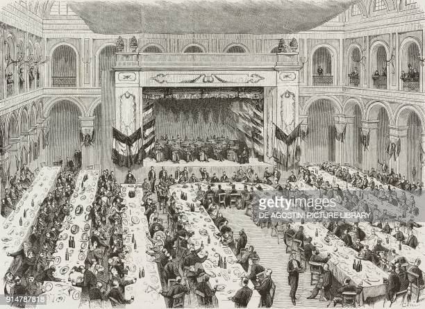 The Banquet of Workers in the Salon of the Public Gardens of Milan Italy on August 29 illustration from the magazine L'Illustrazione Universale year...