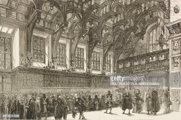 The banquet to Albert Edward Prince of Wales in the Middle Temple Hall London United Kingdom the opening of the Royal Courts of Justice by the Queen...