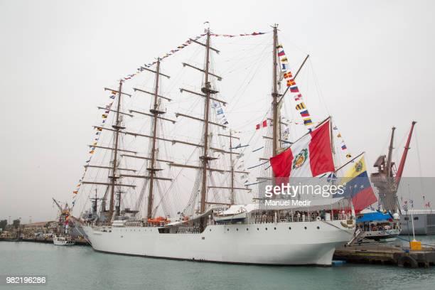 The BAP Union of Peru is seen during the Velas Latinoamerica 2018 Nautical Festival at Callao Naval Base on June 21 2018 in Callao Peru The Festival...