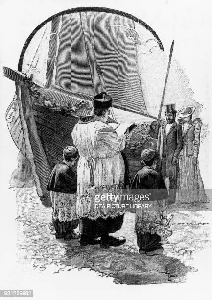 The baptism of the boat Chapter III illustration for A Life novel by Guy de Maupassant woodcut by Georges Lemoine after a drawing by Auguste Leroux