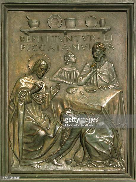 'The baptism panel of the Holy Door made by the sculptor Vico Consorti The door is opened only in the jubilee years Vatican City 2000s '