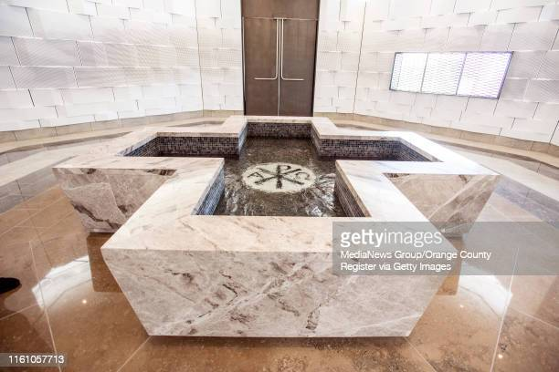 The baptismal font at Christ Cathedral in Garden Grove on Monday, July 8, 2019. Bishop Kevin Vann traveled to Verona, Italy to personally select the...