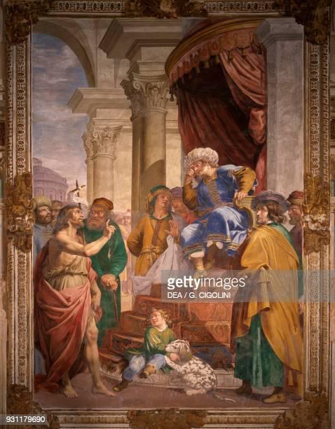 The Baptist rebuking Herod Antipas, 1630 ca, fresco by Giovanni Battista Carlone , third chapel on the left, Certosa di Pavia , Lombardy. Italy, 17th...