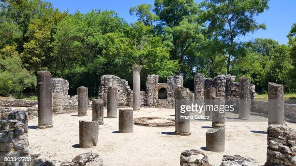 the baptistery in butrint (unesco world heritage) - byzantine stock pictures, royalty-free photos & images