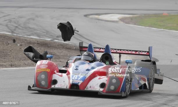 The Bar 1 Motorsport ORECA FLM09 has a tire failure during the ROLEX 24 at Daytona International Speedway on January 26, 2014 in Daytona Beach,...