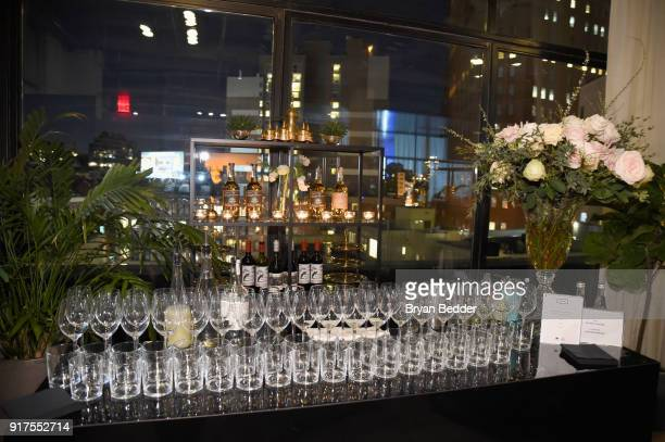 The bar is seen at the Etihad Airways VIP Lounge at NYFW The Shows at IMG NYFW The Shows LOBBY on February 12 2018 in New York City