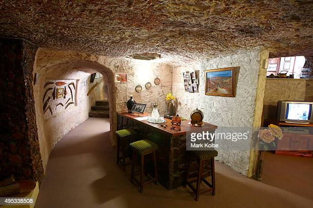 The bar is seen inside Faye's Underground Home on October 22 2015 in Coober Pedy AustraliaThis three bedroom dugout as locals call underground homes...