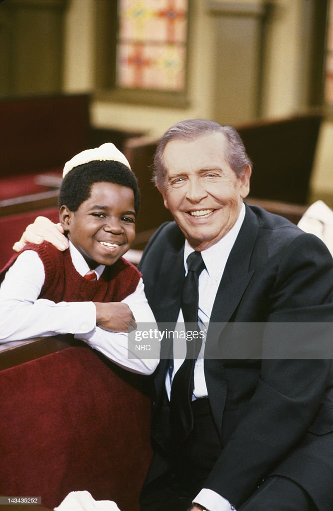 RENT STROKES -- 'The Bar Mitzvah Boy' Episode 21 -- Pictured: (l-r) Gary Coleman as Arnold Jackson, Milton Berle as Rabbi Morris --
