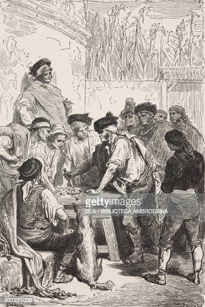 The baratero demanding money from winning gamblers Spain drawing by Dore from Travels in Spain by Gustave Dore and Jean Charles Davillier province of...