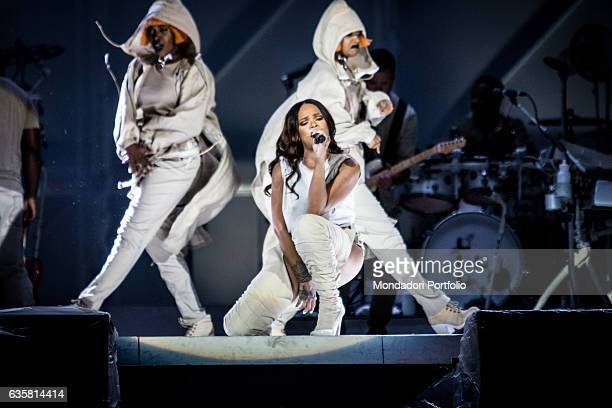 The Barbadian singer Rihanna during the date of the ANTI World Tour hosted in Milan Behind her two female dancers San Siro Stadium Milan 13th July...
