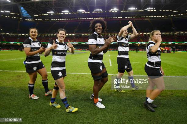The barbarians applaud the crowd after their sides victory after the International Friendly between Wales Women and Barbarians Women at Principality...