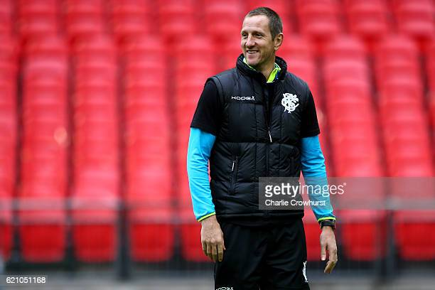 The Barbarians assistant coach Will Greenwood keeps an eye on the session during the Barbarians Captain's Run at Wembley Stadium on November 4 2016...