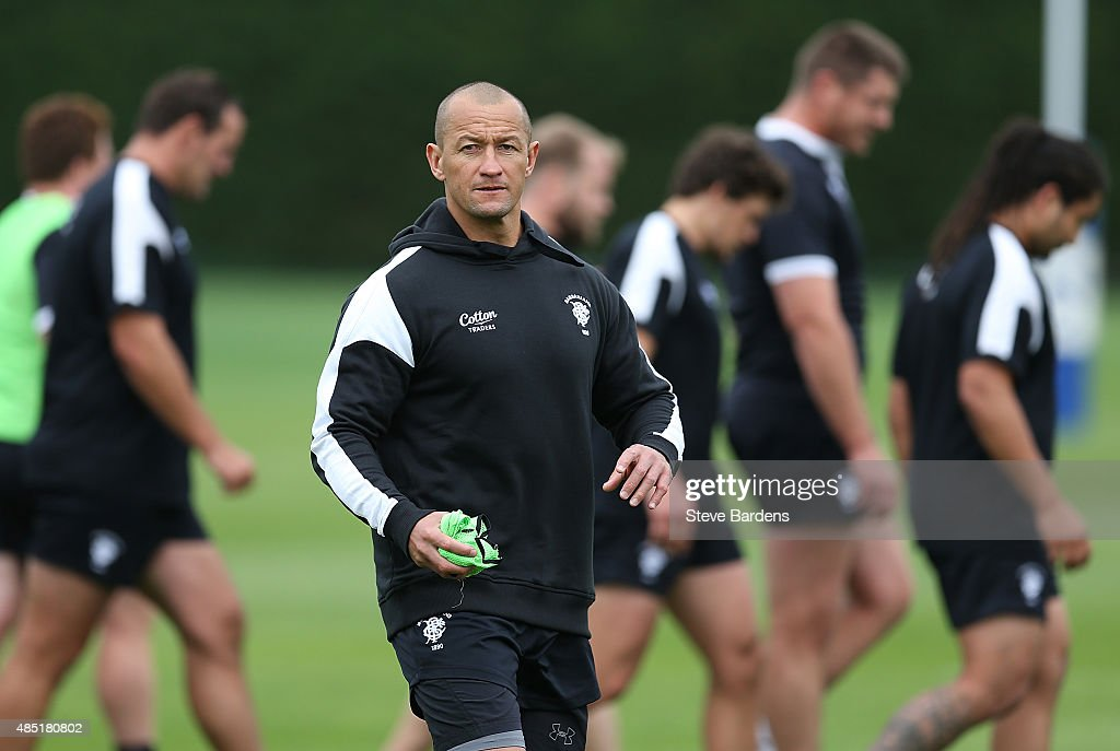 The Barbarians coach Carlos Spencer looks on during a Barbarians training session at Latymer Upper School sports ground on August 25, 2015 in London, England.