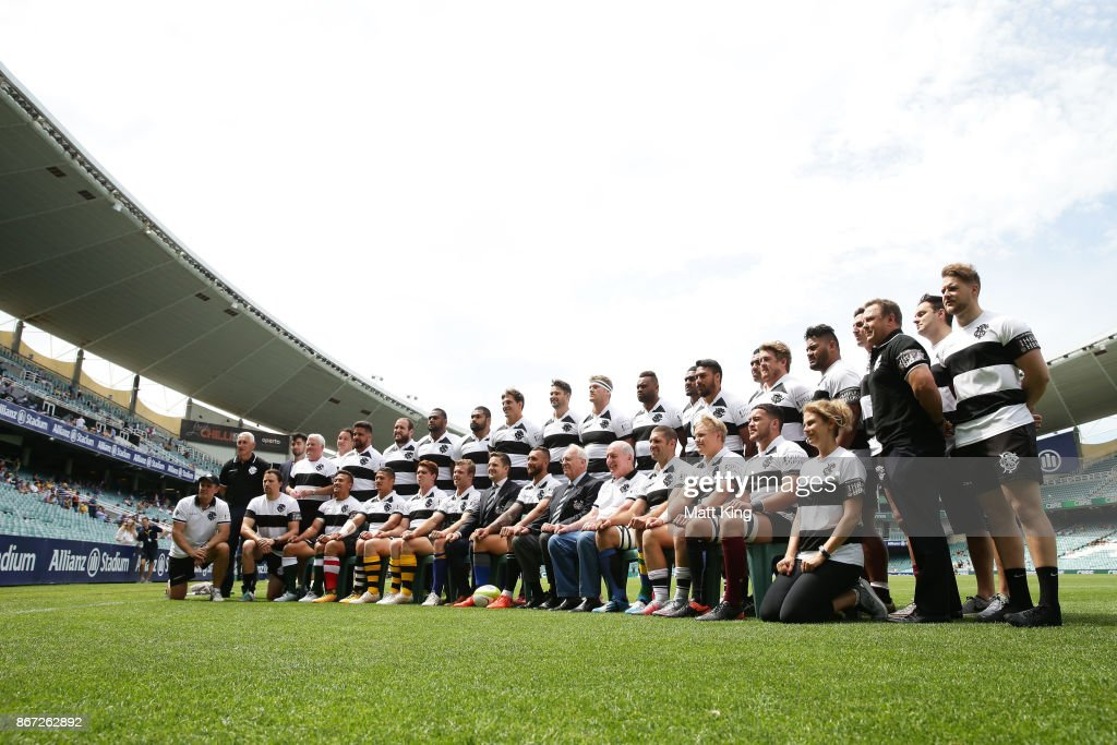 The Barbarians line up for a team photo during the match between the Australian Wallabies and the Barbarians at Allianz Stadium on October 28, 2017 in Sydney, Australia.