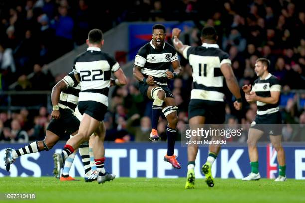 The Barbarians players celebrate at the final whistle during the Killik Cup match between the Barbarians and Argentina at Twickenham Stadium on...