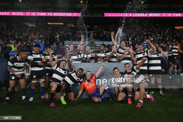 The Barbarians players celebrate their victory over Argentina after the Killick Cup match between Barbarians and Argentina at Twickenham Stadium on...