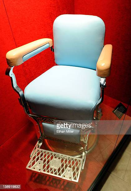 The barber chair from the Park Sheraton Hotel in New York in which Gambino crime family boss Albert Anastasia was murdered is displayed at The Mob...