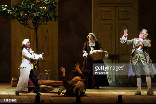 The Barber of Seville at the Metropolitan Opera House on Thursday night April 26 2007This imageFrom left Lawrence Brownlee Rob Besserer Claudia Waite...