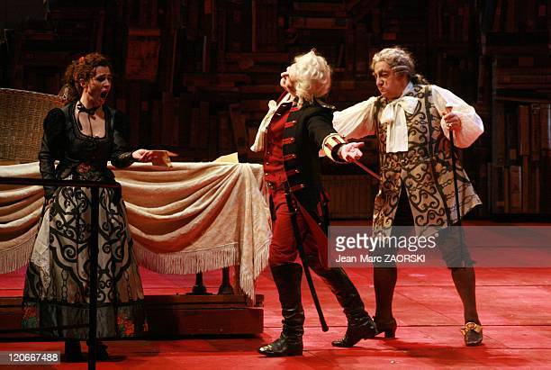 The Barber of Seville by Gioachino Rossini in Toulouse, France on March 15, 2011 - Maite Beaumont , Dmitry Korchak and Alessandro Corbelli during The...