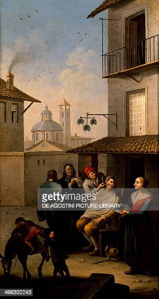 The barber painting by Giovanni Michele Granieri Italy 18th century