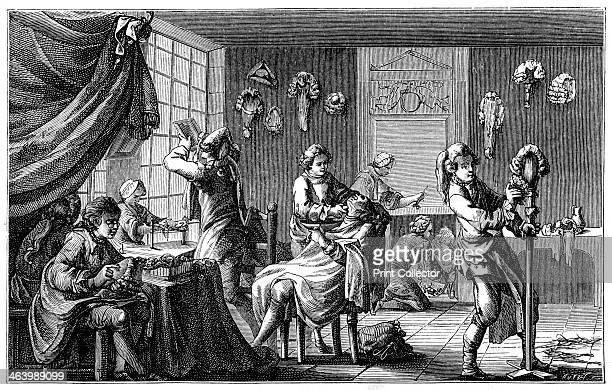 The Barber's Boutique A scene in a French barbershop of the 17th century when wigs first came into fashion Illustration from 18th Century...