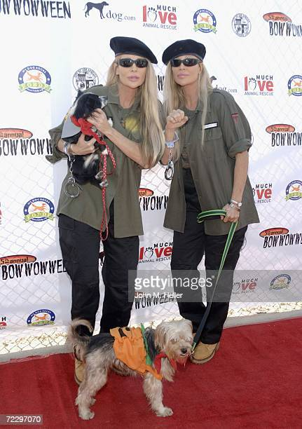 The Barbi Twins Shane with her dog Cuteness and Sia with her dog Humphrey attend the 5th Annual Bow Wow Ween at the Barrington Dog Park on October 29...