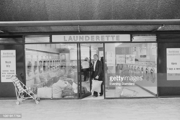 The Barbican Launderette Barbican Estate London UK 10th October 1979