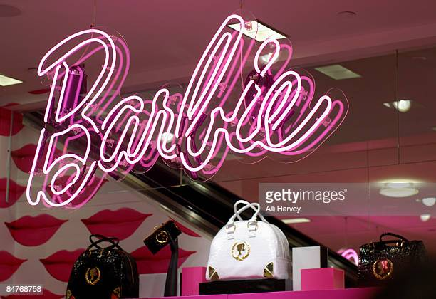 The Barbie logo is displayed at Bloomingdale's 59th Street to celebrate Barbie's 50th anniversary on February 12 2009 in New York City