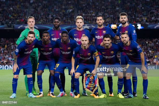 The BarceloFC Basel team line up prior to the UEFA Champions League Group D match between FC Barcelona and Juventus at Camp Nou on September 12 2017...